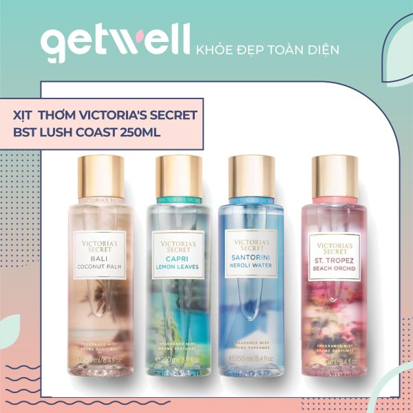 CAPRI LEMON LEAVES | NEROLI WATER | BALI COCONUT PALM | BEACH ORCHID Fragrance Mist | Sản Phẩm Xịt Thơm Toàn Thân Victorias Secret