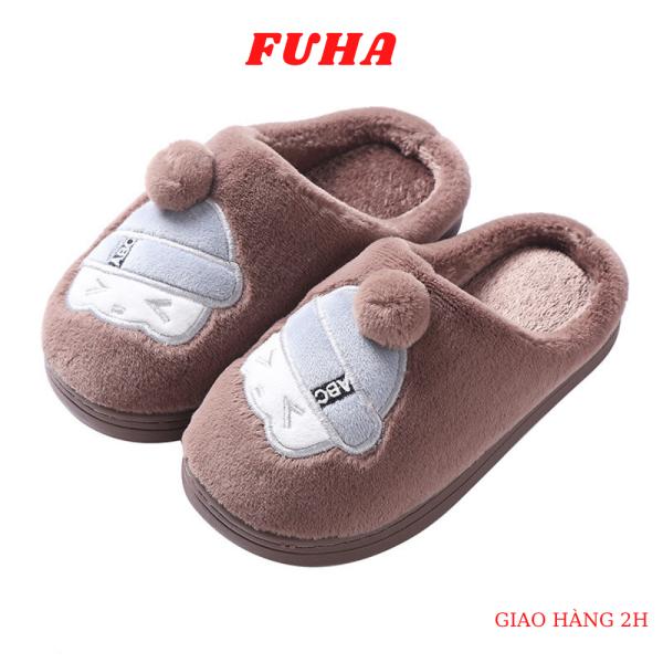 Giá bán Dép bông trong nhà cho bé FUHA, dép lên mùa đông hoạt hình dễ thương