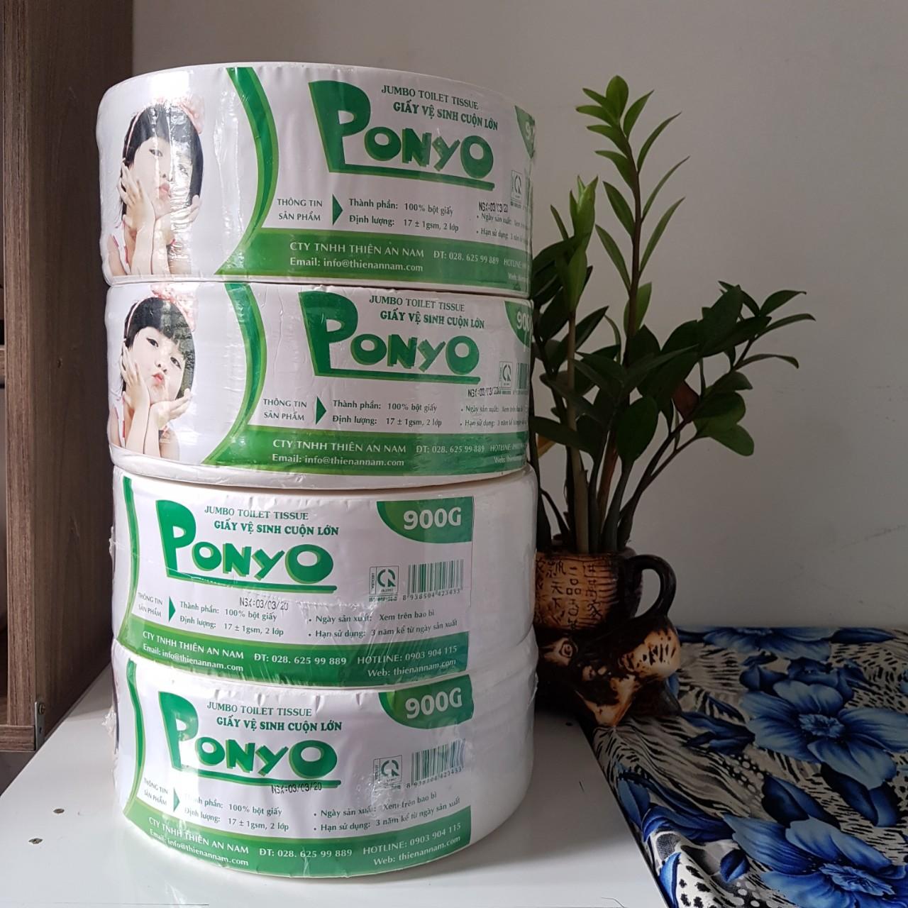 Combo 4 Cuộn Giấy Vệ Sinh Cuộn Lớn 900g Ponyo Ưu Đãi Bất Ngờ