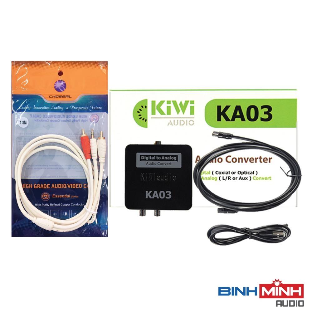 Combo Bộ chuyển đổi âm thanh TV 4K quang optical sang audio AV Kiwi KA03 và Dây AV Choseal 1đầu 3.5mm ra 2 đầu hoa sen dài 1.8m