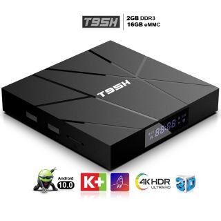 Tivi box android 10.0 mới bộ nhớ 16G ram 2G xem phim HD 4K tv box xem nhiều kênh truyền hình giải trí bảo hành 12 tháng T95H đầu android tv box