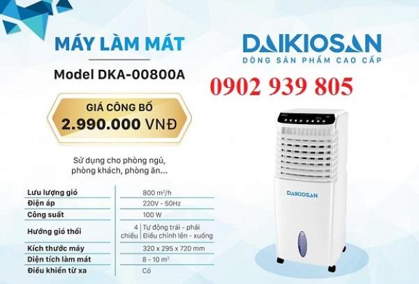 Bảng giá Máy làm mát không khí Daikiosan DKA-00800A - New 100w-10lit-10m2