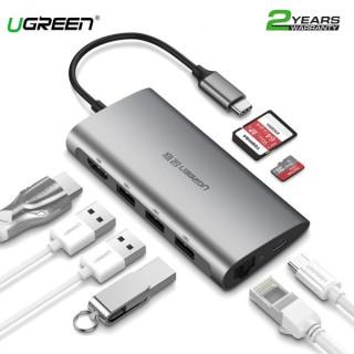 [8 IN1] Cáp Chuyển USB Type C Sang 3xUSB 3.0+HDMI+RJ45+SD, TF Ugreen (50538) thumbnail