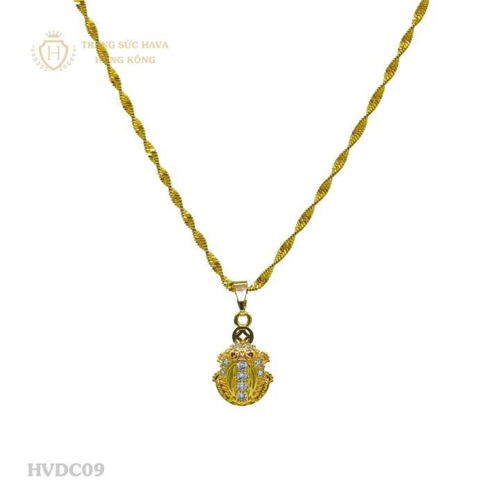 Vòng Cổ, Dây Chuyền Nữ Mặt Cóc Ngậm Tiền Titan Xi Mạ Vàng - Trang Sức Hava Hồng Kông