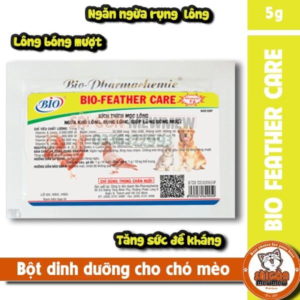 Bột dưỡng lông, kích thích mọc lông cho chó mèo Bio Feather Care 5g