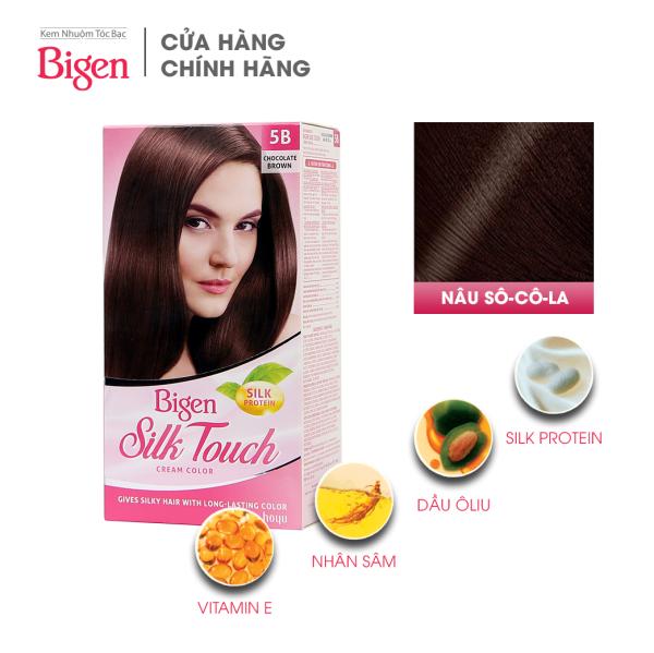 Thuốc nhuộm dưỡng tóc phủ bạc thảo dược Bigen Silk Touch Thương hiệu Nhật Bản Sắc Màu trẻ trung 80ml dạng kem - Nâu Socola 5B