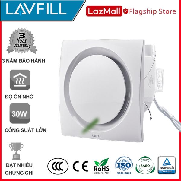 Quạt thông gió âm trần 300x300 mm, Quạt hút âm trần nhà tắm, phòng vệ sinh với BỀ MẶT QUẠT PHẲNG, dễ vệ sinh lau chùi, không bám bẩn, không ồn hãng LAVFILL LFCV-16D
