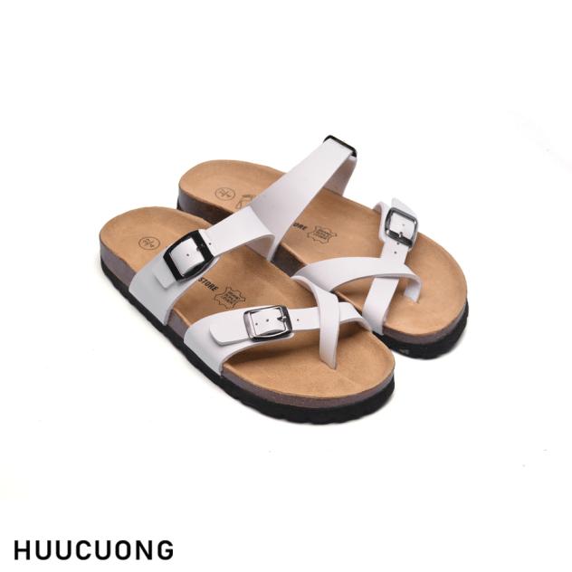 Dép HuuCuong xỏ ngón trắng đế trấu giá rẻ
