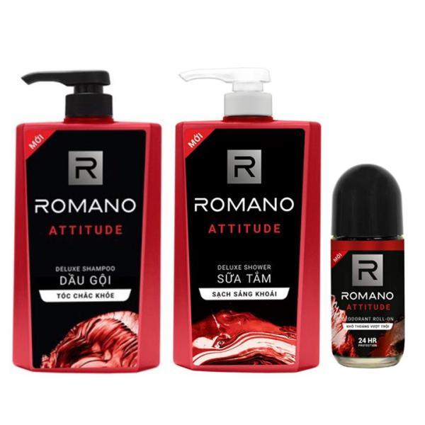 Combo Romano Attitude: 1 chai Dầu Gội 650g + 1 chai Sữa tắm 650g + 1 Lăn khử mùi 50ml giá rẻ