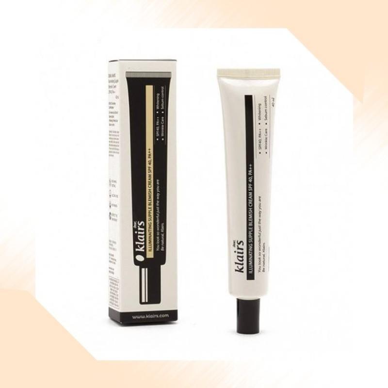 Kem nền trang điểm dành cho da mụn, da nhạy cảm Klairs Illuminating Supple Blemish Cream SPF40/PA++ 40ml cao cấp