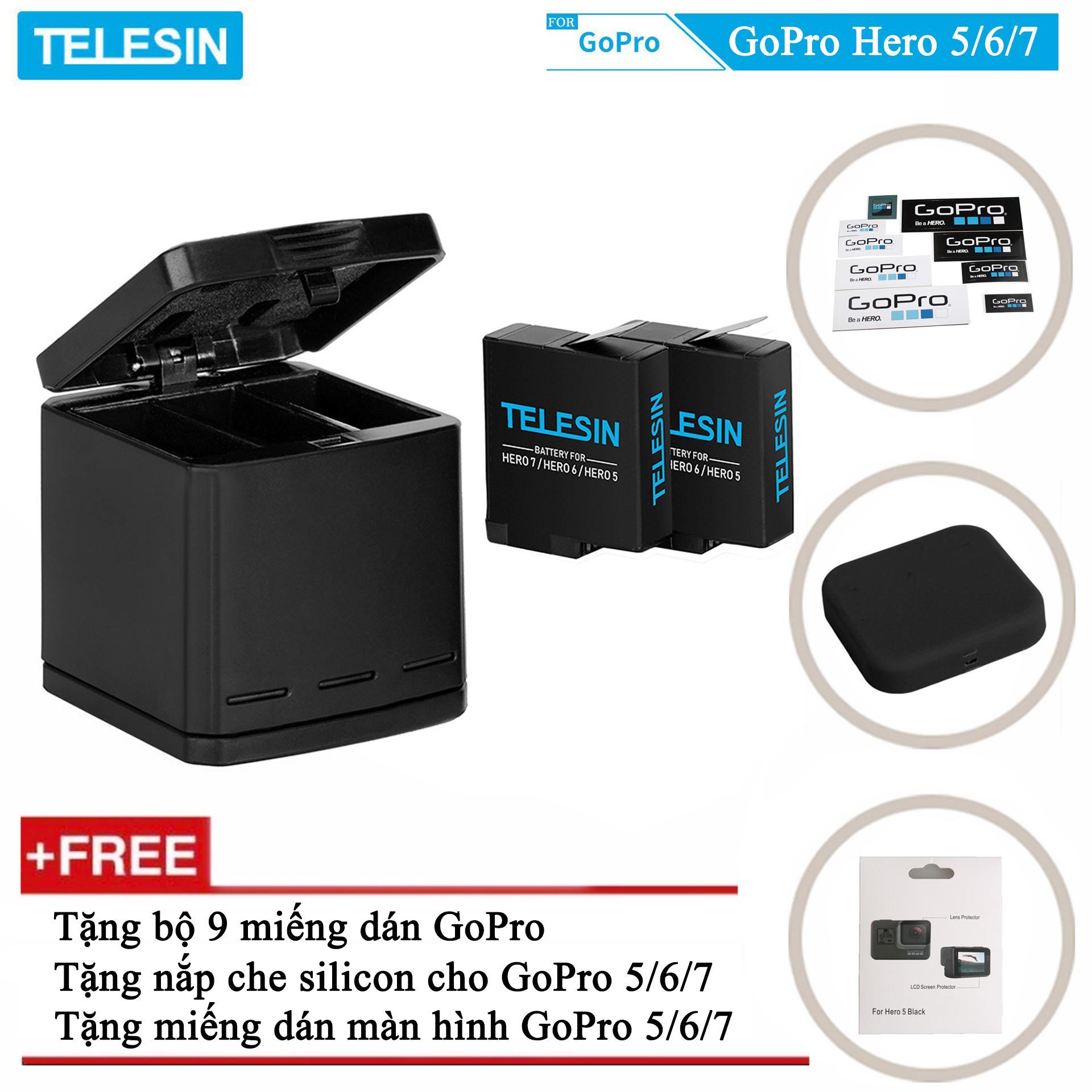 Giá Combo sạc 3 + 2 viên pin TELESIN cho GoPro Hero 5, GoPro Hero 6, GoPro Hero 7, GoPro Hero 8, GoPro new Hero 2018