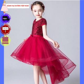 Đầm bé gái TITIKIDS đỏ đuôi kim sa (Đỏ) - Đầm bé gái cực xinh cho bé đi chơi - Đầm công cho bé gái - Đầm tại xưởng