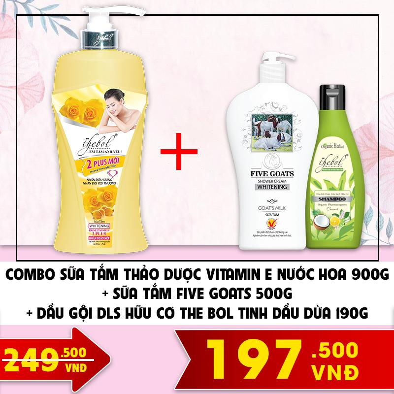 Sữa tắm thảo dược Vitamin E nước hoa 900g + Sữa tắm  Five Goats 500g + Dầu gội DLS hữu cơ The Bol tinh dầu dừa 190g