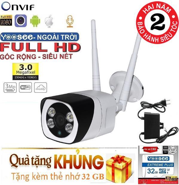 (Tặng thẻ nhớ Chuẩn CTY YOOSEE 32 Gb)Camera Wifi trong nhà- ngoài trời YOOSEE S10, 3.0Mpx- 1920 x 1080P,Full HD XEM ĐÊM CÓ MÀU,chống nước tuyệt đối Nhật Bản