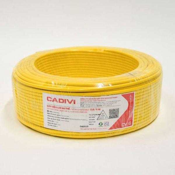 Bảng giá dây điện cadivi 6.0 đơn cv - cv-6.0