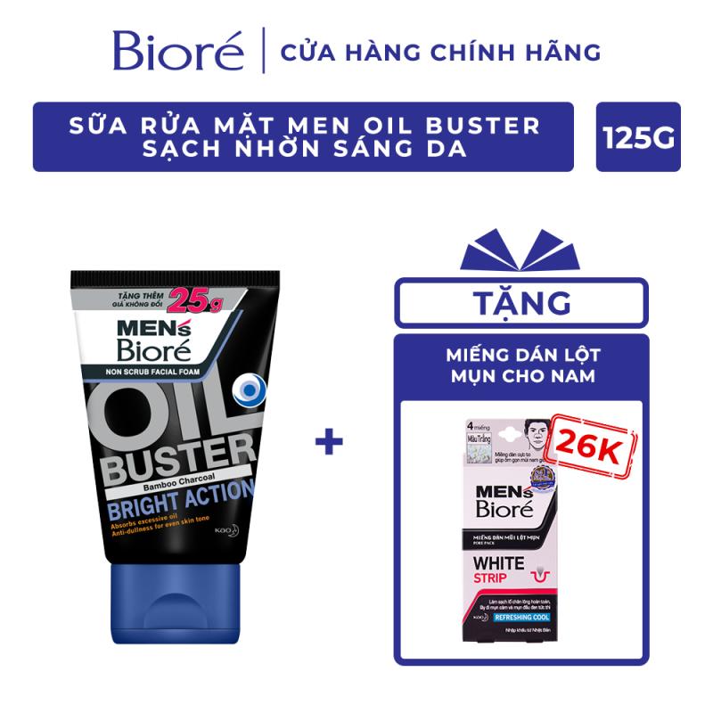Sữa Rửa Mặt Men Biore Oil Buster Sạch Nhờn Sáng Da 100g Tặng 4 Miếng Dán Lột Mụn Mũi Cho Nam