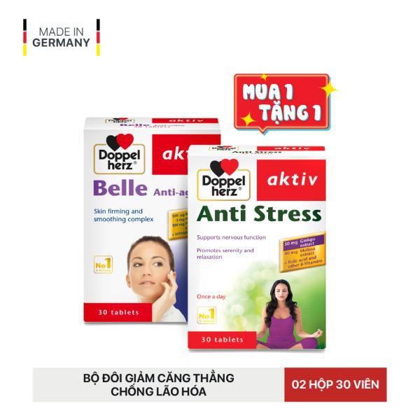 [DATE 07/2021] Bộ đôi ngủ ngon, giảm căng thẳng, chống lão hóa Doppelherz Aktiv Belle Anti-Aging và Anti Stress (02 Hộp 30 viên)