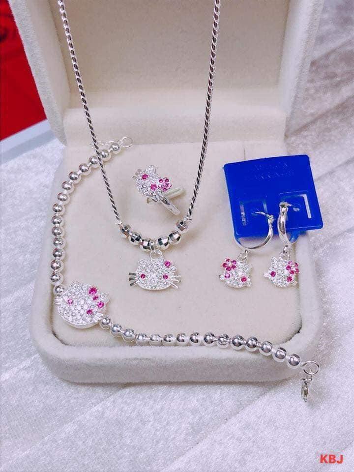 Giá bán Bộ trang sức bạc mèo kitty cho bé