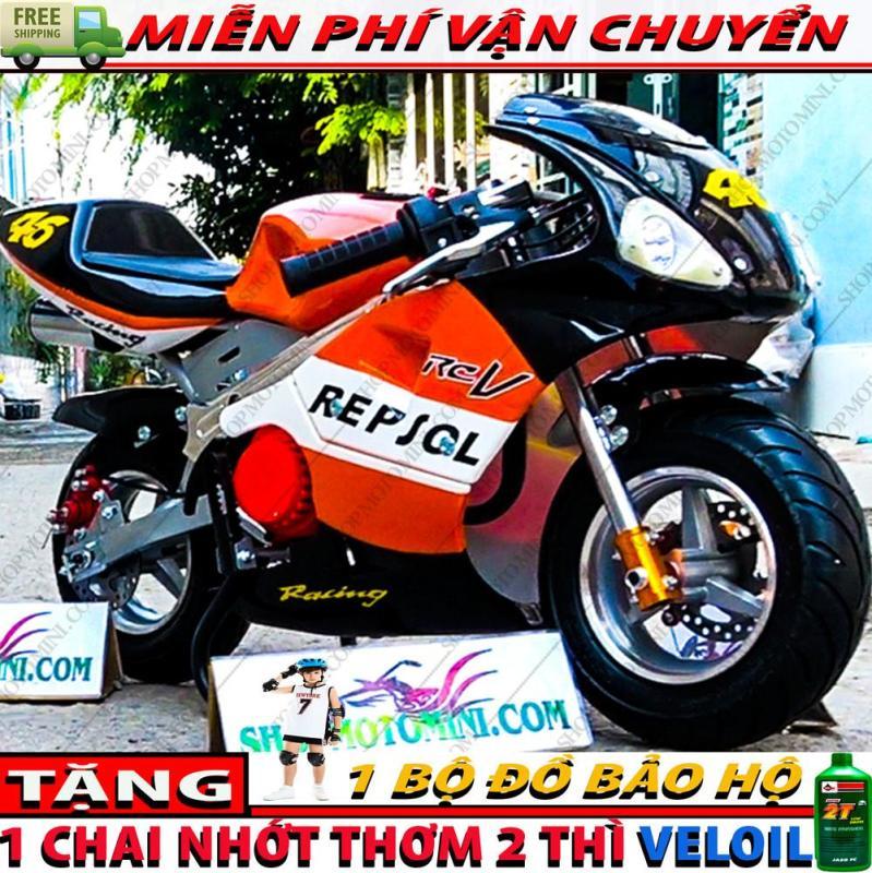 Mua Mô tô mini 50cc Tam Mao ( Có 2 đèn LED trợ sáng + 2 Ống xả cực ngầu )   Cào cào 49cc chạy bằng động cơ xăng pha nhớt gắn máy cắt cỏ