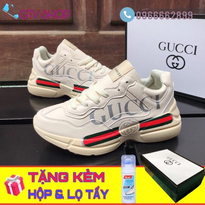 Tặng hộp và Lọ vệ sinh giày - Giày thể thao nam nữ Gucci chunky in chữ, size 36 đến 43. giá rẻ