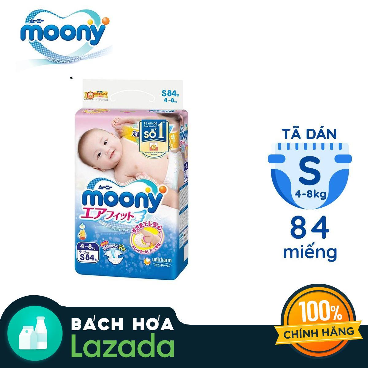 Tã Dán Moony S-84 Miếng (4 - 8kg) Giá Tiết Kiệm Nhất Thị Trường