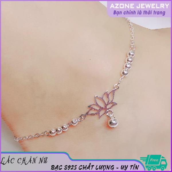 Lắc chân nữ | Lắc chân nữ bạc | Lắc chân bạc nữ [FREESHIP] Bạc S925 Màu bạc Mặt bông sen #AZLC001 - Azone Jewelry Lắc chân bạc