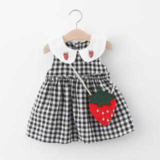 Váy Dâu Tây Kẻ Sọc Cho Bé Gái Phong Cách Mới Mùa Hè, Cherry Váy, Váy Kẻ Sọc Cho Bé Gái Gửi Dâu Tây Ba Lô, Gửi Anh Đào Túi