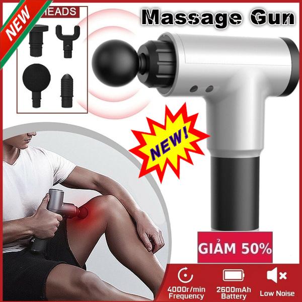 Súng massage cầm tay Gun KH-320( 4 đầu) Máy mát xa lưng vai cổ cầm tay FASCIAL GUN KH-320, Giải quyết mọi con đau nhức - Một chiếc máy đa năng, Máy Massage & Làm Thon Cơ Thể , Máy Massage Cổ, Vai, Gáy, Lưng, BH 12 Tháng