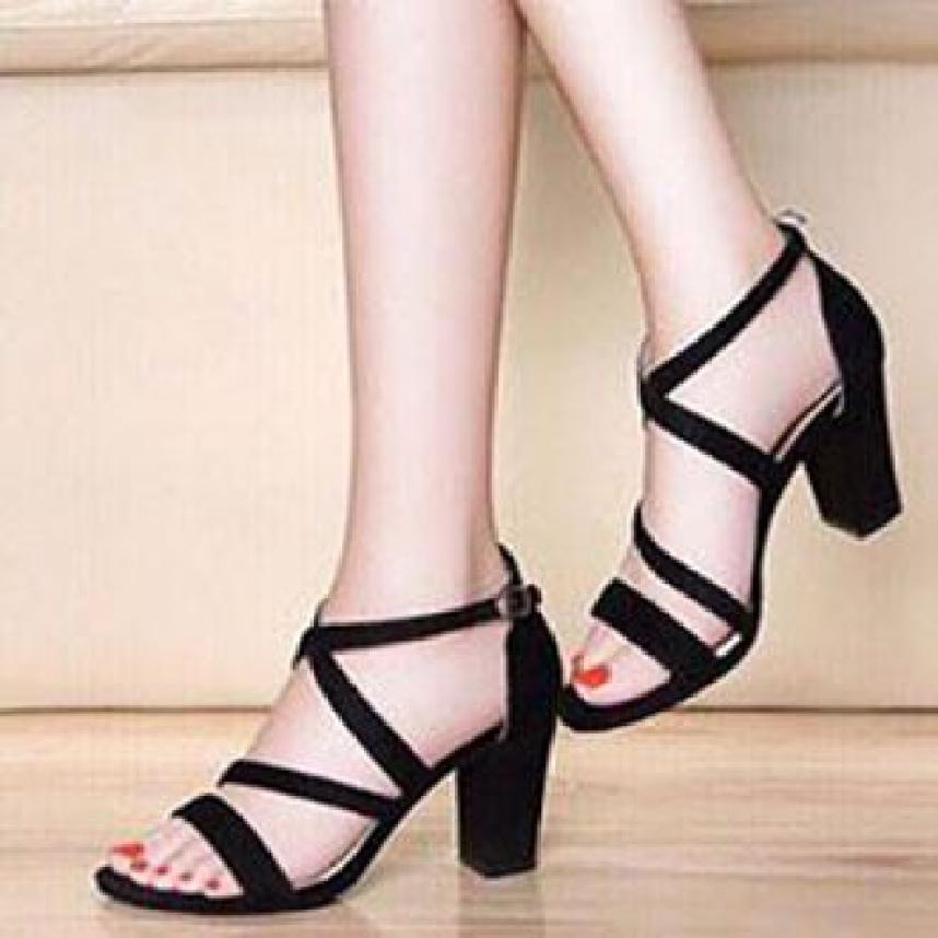 giày cao gót vuông 7p 2 dây chéo giá rẻ
