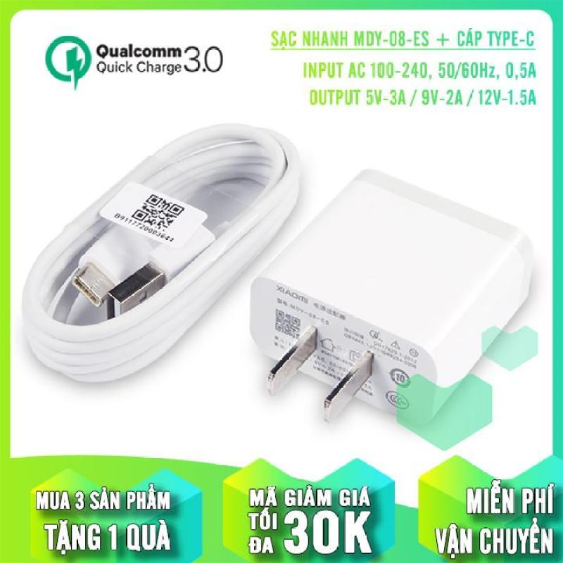 Củ sạc nhanh Quick Charge 3.0 Xiaomi MDY-08-ES dùng cho máy Xiaomi Mi6 + Cáp Xiaomi Type-C 1m2 - hàng nhập khẩu