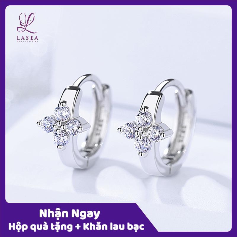 Bông tai nữ trang sức bạc Ý S925 Lasea - Hoa tai Hàn Quốc Hoa 4 Cánh E1079