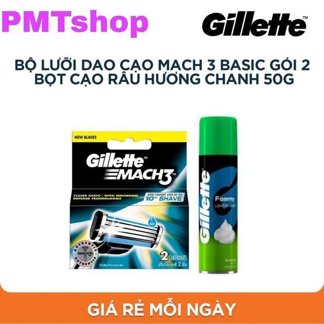 Combo Hộp Lưỡi dao cạo râu Gillette Mach3 vỉ 2 cái + Bọt cạo râu hương chanh 50g - Mach 3