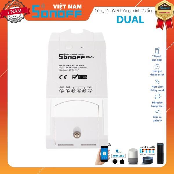 Công Tắc Wifi 2 Kênh Thông Minh Điều Khiển Từ Xa Qua Wifi Sonoff Dual Bảo Hành 12 tháng