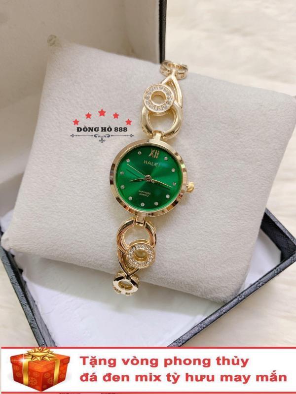 Đồng hồ nữ HALEI dây lắc thời thượng ( Dây vàng mặt xanh ) - TẶNG 1 vòng tỳ hưu phong thuỷ