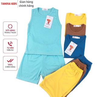 TANOSA KIDS Bộ ba lỗ màu trơn chất vải cotton siêu mát mềm mại an toàn cho bé từ 8-22kg thumbnail
