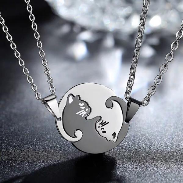 Dây Chuyền Bạc - Vòng cổ đôi bạc S925 thiết kế hình Mèo âm dương tinh tế chống bạc màu kiểu dáng mới nhất DC03
