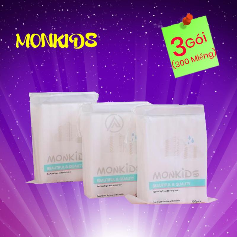 COMBO 3 gói bông tẩy trang 100% cotton 3 lớp mềm mịn thấm hút cực tốt 300 miếng BTT02AZ - Thương Hiệu MONKIDS
