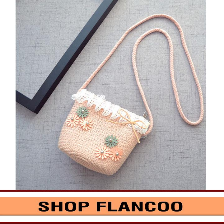 Giá bán Túi đeo chéo bé gái chất liệu cói dễ thương Flancoo 0292 (Hồng nhạt)