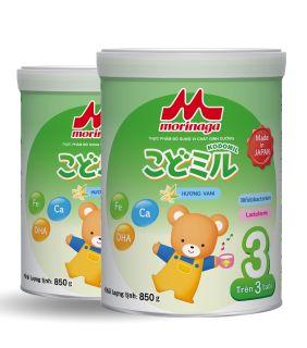 [ HSD 6 tháng] Combo 2 Lon Sữa Morinaga Số 3 Kodomil Cho Bé Từ 3 Tuổi - Hương vani 850gr - HSD T03 2022 (không đai đổi quà) thumbnail