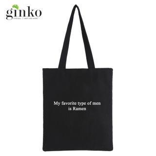 Túi tote vải Ginko dây kéo phong cách Hàn Quốc in chữ Is Ramen thumbnail