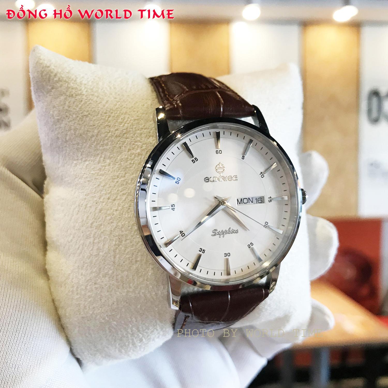 Đồng hồ Nam Sunrise DM1216SWA B Chính Hãng [Full Box + Thẻ BH 3 Năm] Kính Sapphire Chống Nước - Chống Xước - Dây Da Cao Cấp bán chạy