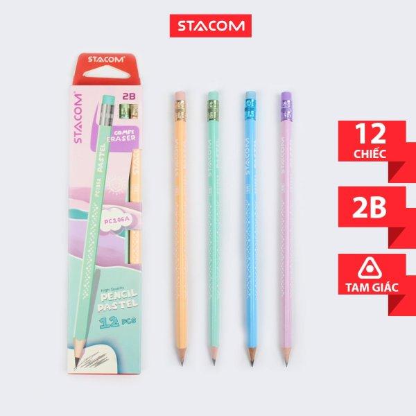 Hộp 12 cây Bút chì Stacom màu pastel 2B/HB PC106A
