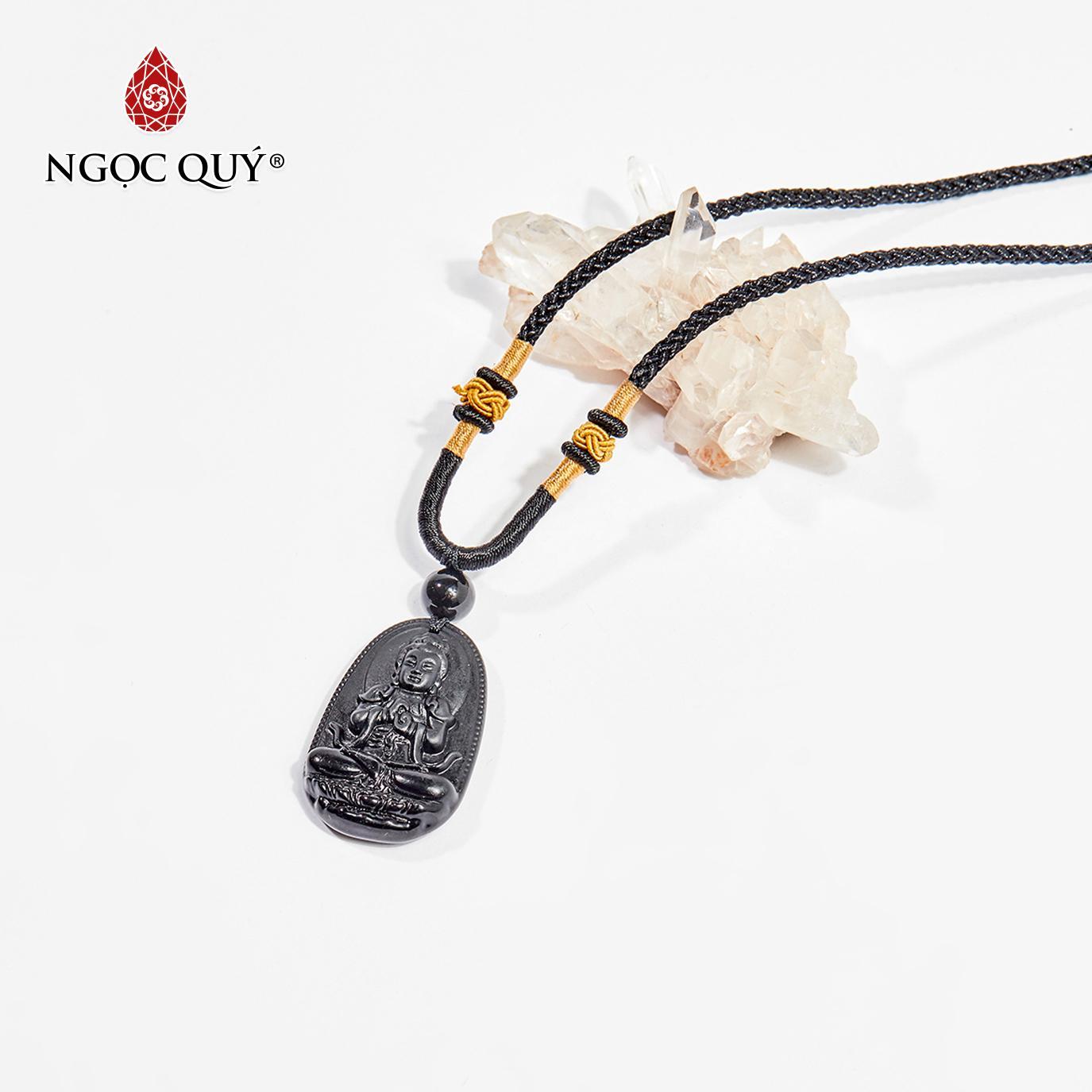 Mặt dây chuyền Phật bản mệnh đá obsidian Như Lai Đại Nhật tuổi Mùi,Thân 3.6 x 2.3cm (màu đen) - Ngọc Quý Gemstones