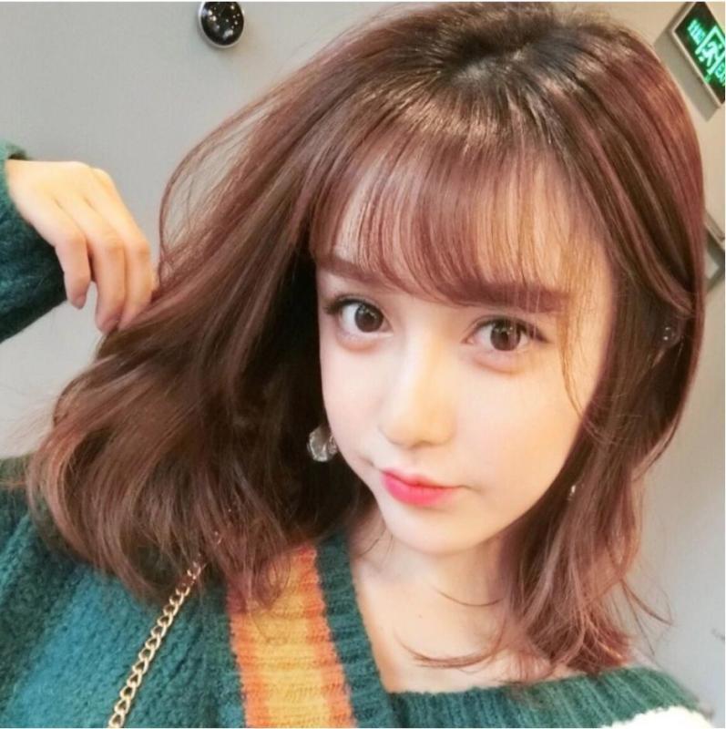 Tóc giả nữ Hàn Quốc có da đầu + tặng Lưới trùm -  TG3480 ( NÂU VÀNG NHƯ HÌNH ) nhập khẩu