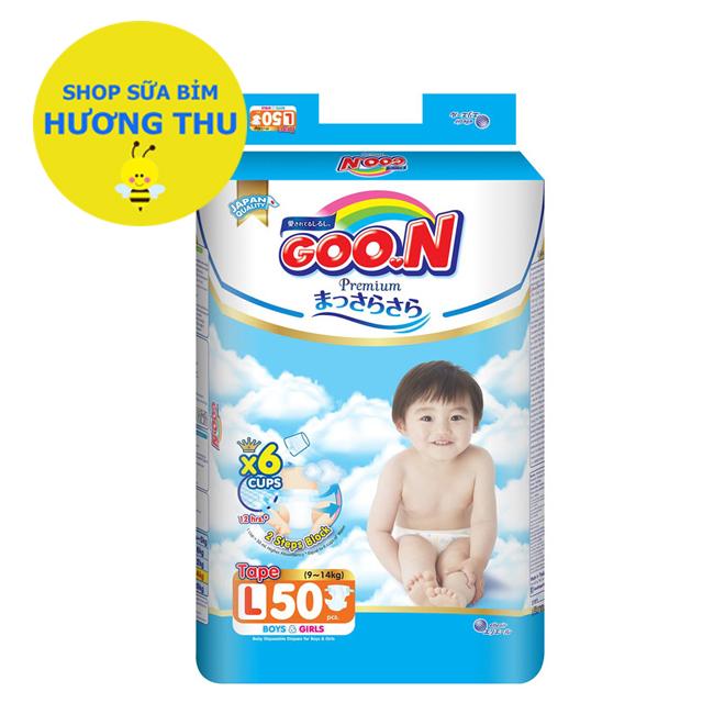 Voucher tại Lazada cho Tã/bỉm Dán Goon Premium Size L 50 Miếng (cho Bé 9- 14 Kg)