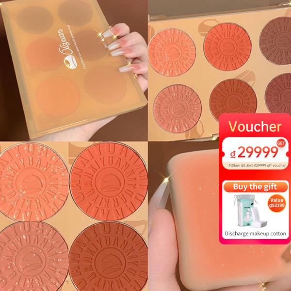 【Buy 1 Gift 1】Bảng Màu Má Hồng 6 Màu, Lấp Lánh Ngọc Trai Và Sức Sống, Cô Gái Với Trang Điểm Màu Nude Tự Nhiên, Sửa Chữa Màu Đỏ