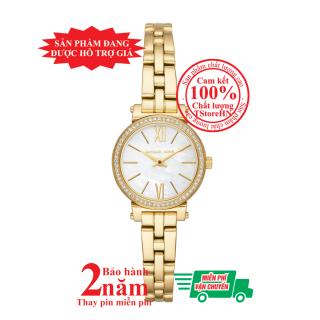 Đồng hồ thời trang nữ MK Petite Sofie MK3833, Vỏ và dây màu Vàng (Gold), mặt trắng bạc, viền khảm đá pha lê Swarovski, size 26mm -MK3833 thumbnail