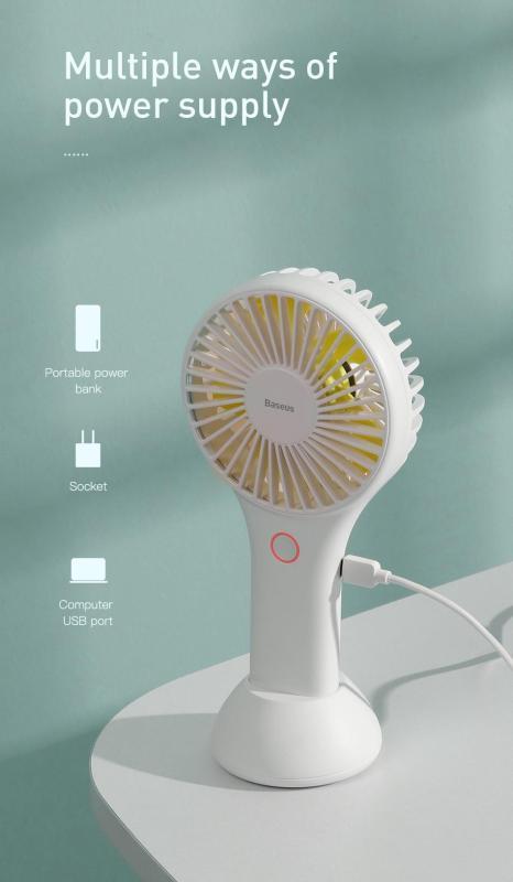 Quạt sạc tích điện Baseus Mini USB Fan Di Động để bàn hoặc Cầm Tay Pin bền 1800 mAH Tiện Dụng sử dụng đa năng trong nhà ngoài trời