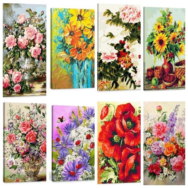 Tranh sơn dầu số hóa tự tô nhiều mẫu được chọn 40X50cm có khung đã căn sẵn KT01 mẫu hoa đẹp