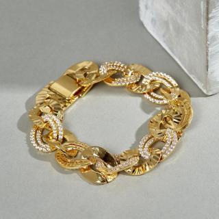 Lắc tay nữ màu vàng đính đá trắng nổi bật JK Silver, nhẫn nữ thiết kế hiện đại, kiểu dáng sang trọng - Dùng làm quà tặng cho bạn gái thumbnail